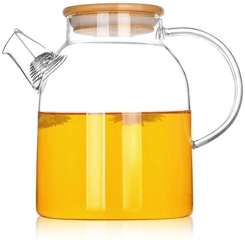 KFDQ Household Glass Kettle,Teapot Kettle Heat-Resistant Glass Teapot Stainless Steel Filter Foam Teapot Thickened Teapot Tea 1700Ml