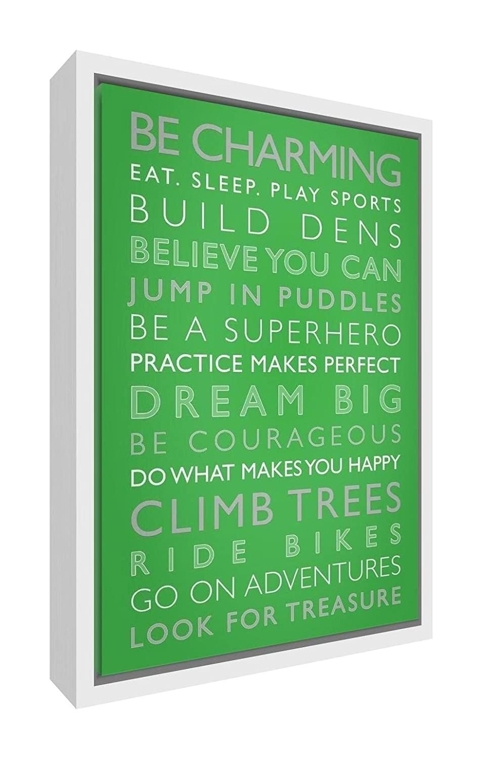 Feel Good Art Eco-Printed and Framed Nursery Canvas with solid White Wooden Frame (64 x 44 x 3 cm, Large, Green, Boys Rules)