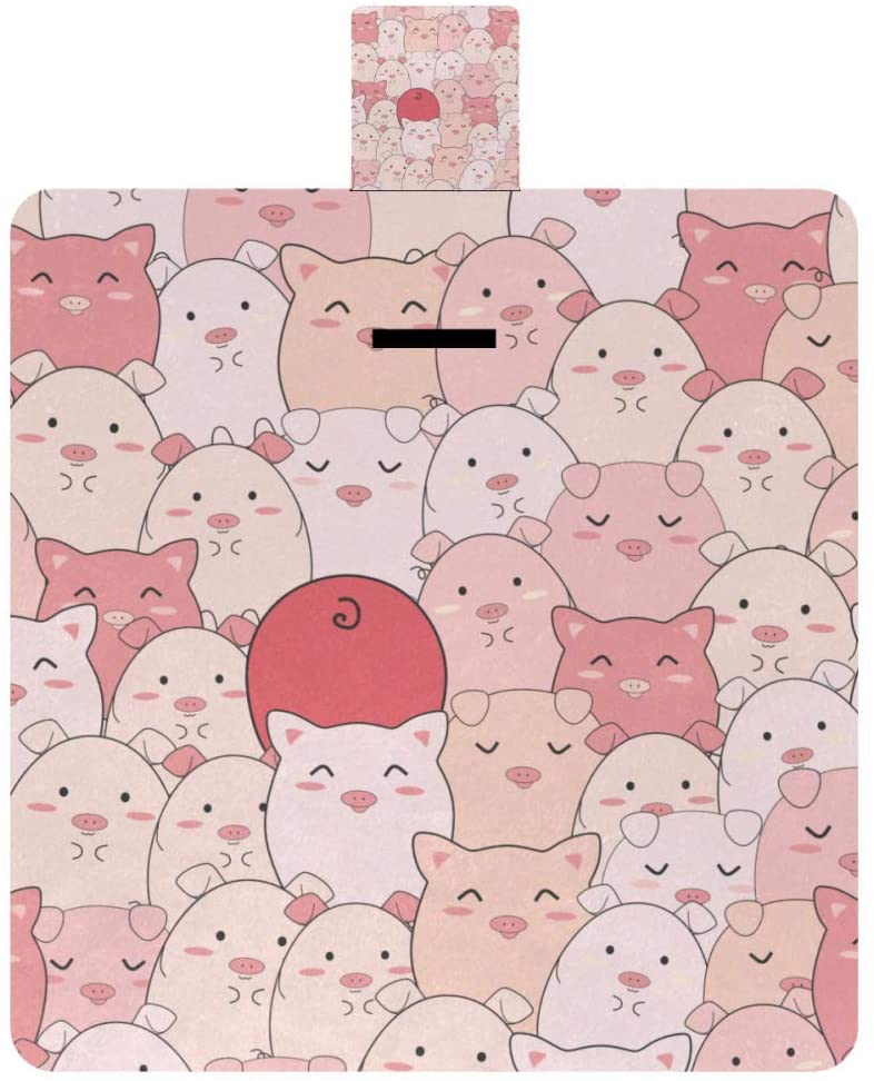 MAPOLO Cute Pink Pigs Seamless Pattern Picnic Blanket Waterproof Outdoor Blanket Foldable Picnic Handy Mat Tote for Beach Camping Hiking