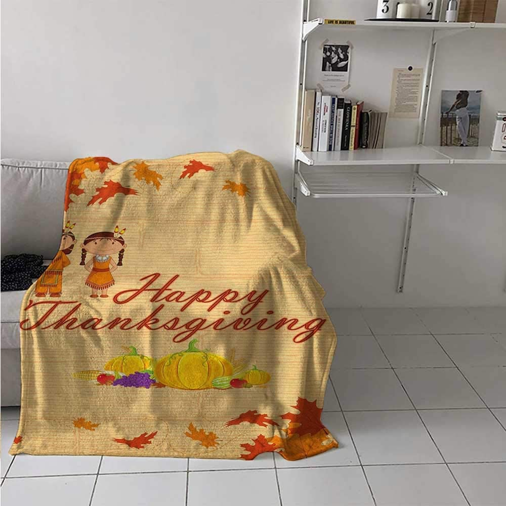 painting-home Lightweight Blanket Children in Native American Costume Preserving Indigenous Heritage Snuggle Super Soft Blanket for Kid Baby Toddler Teenager Orange Multicolor 40 x 60 Inch