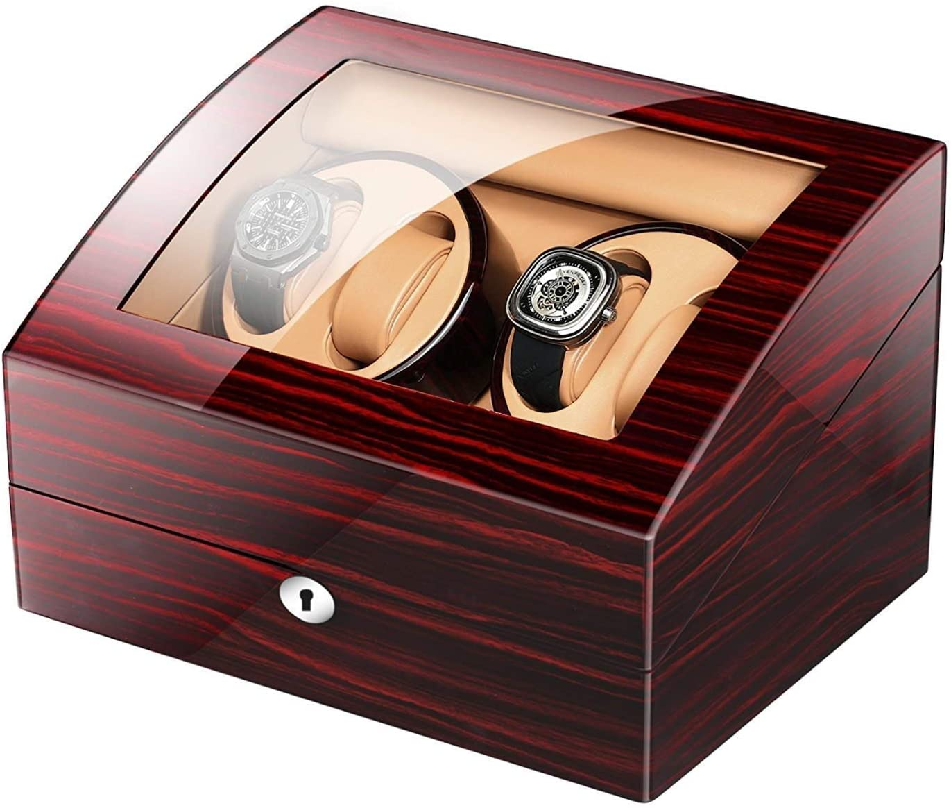 HYY-YY Automatic Watch Winder Box with 4 Winder Positions,4 Modes Wood Shell Piano Paint Black Gloss 6 Storage Spaces