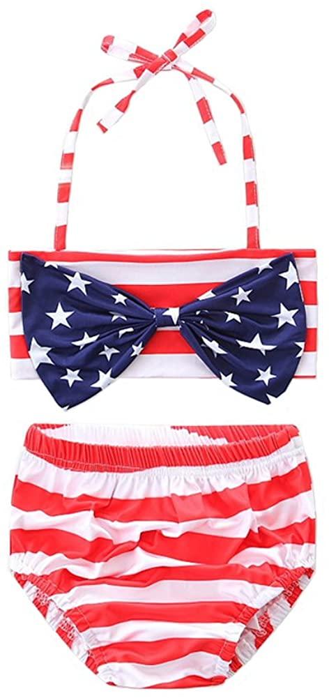 Scfcloth Baby Girls Two Pieces Halter Bathing Suit Swimwear Kids USA Flag Striped Star Beach Bikini Sets