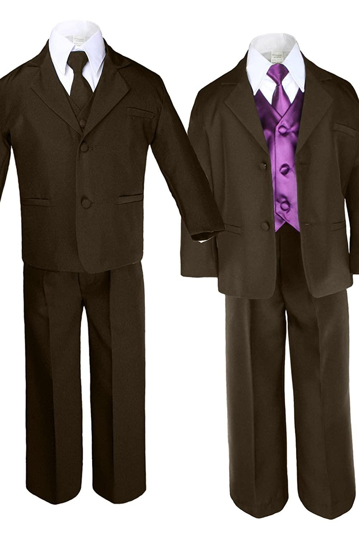 7pc Boys Brown Suits with Satin Eggplant Vest Necktie Sets All Size (3T)