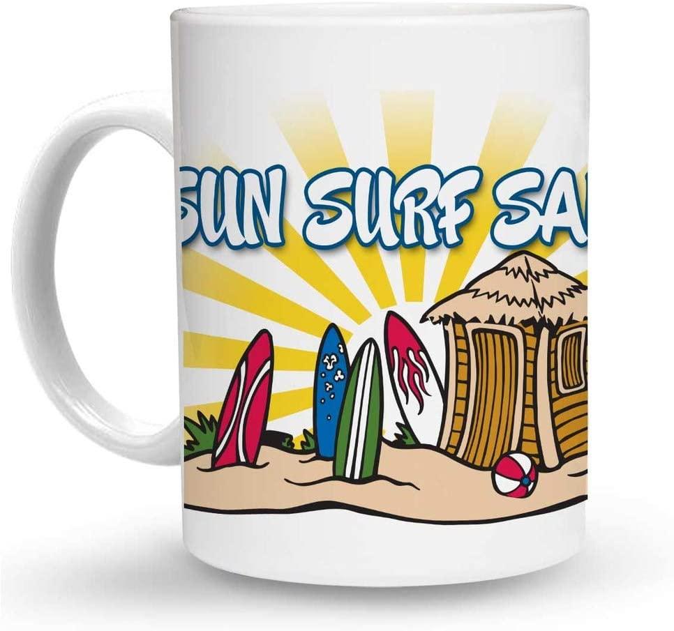Makoroni - SUN SURF SAND Surf Surfing 6 oz Ceramic Espresso Shot Mug/Cup Design#22