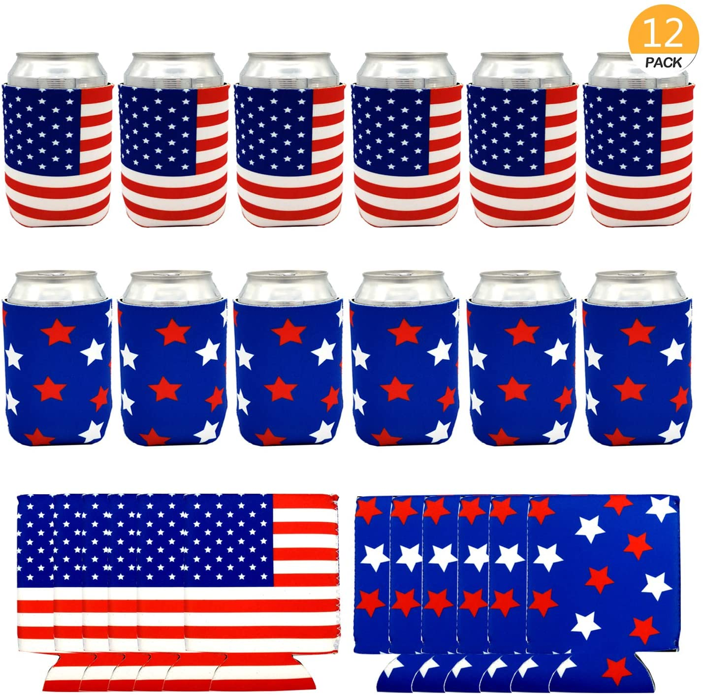 Onene 12 pieces American Flag Can Cooler Sleeves, Neoprene Beer Coolies for Cans and Bottles, Collapsible Drink Cooler Sleeves, Perfect Party Supplies for Insulating,BBQ,4th Of July,Gifts,Events