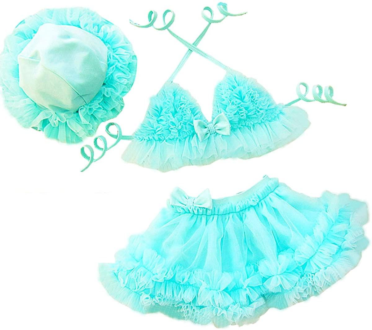 TAIYCYXGAN Baby Girls Swimsuit Princess Lace Tutu Swimwear Ruffle Bikini with Hat