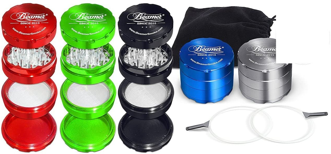 Silver Beamer Smoke 50mm 4 Piece Aircraft Grade Aluminum Grinder/Spice Mill w/Catcher & Neodymium Magnet + 2 O Rings + 2 Scrapers + Travel Bag. For Tobacco, Coffee, Herbs, Spices + Beamer Sticker