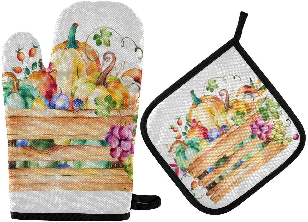 DOMIKING Oven Mitts Pot Holder Sets - Autumn Fall Leaves Thanksgiving Cooking Gloves Heat Resistant Hot Pads Non-Slip Potholders for Kitchen BBQ Grilling Baking