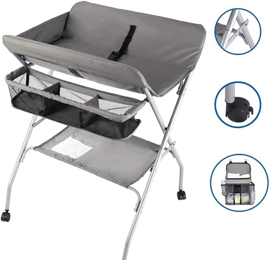 JN Baby Changing Table Infant Changing Station On Wheels, Foldable Baby Diaper Table with Safety Strap & Organizer Storage Pocket, Gray Baby Crib