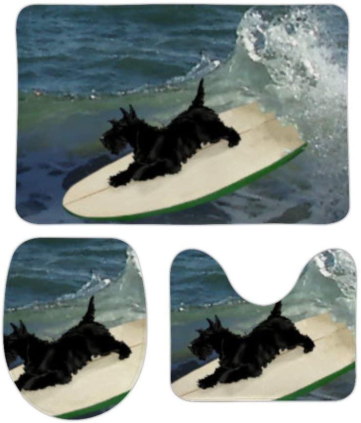 Yilooom 3 Pack Bath Mat Set, Surfing Scottish Terrier Absorbent Memory Foam Soft Shower Bath Rugs Contour Mat and Lid Cover,Non Slip Velvet Bathrug,Shower Toilet Bathmats Carpet