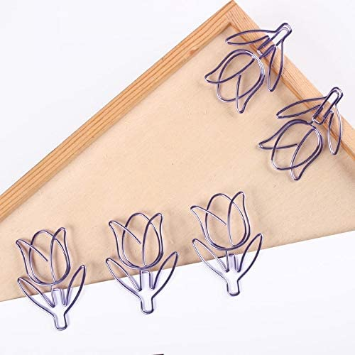 Clips Tulip Design Paperclip Creative Shaping Paperclips Metal Office Clip Kawaii Accessories Kawaii Stationery Bookmark Shool Gadgets
