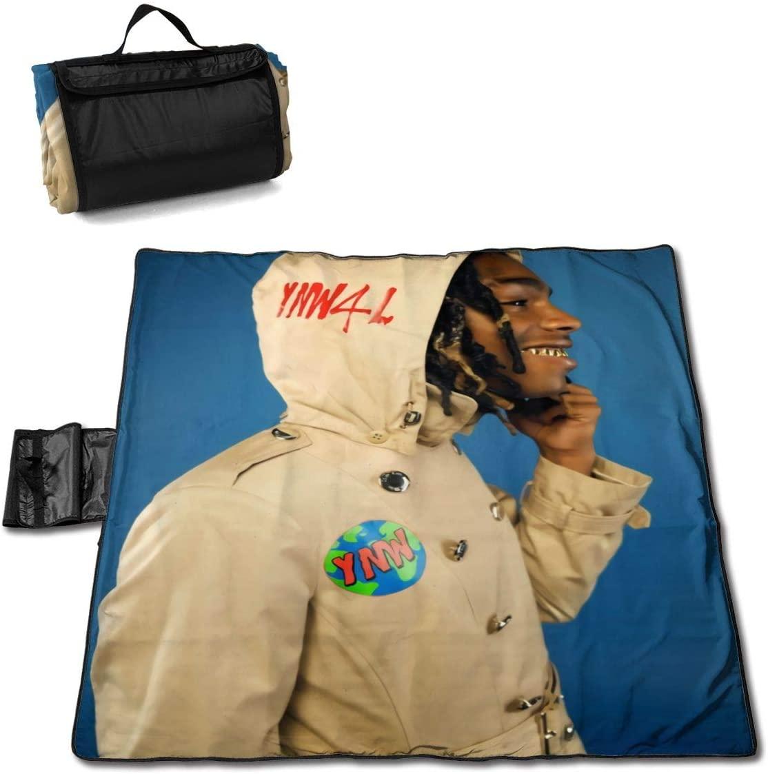 Htw Y-N-Wmelly Portable Printed Picnic Blanket Waterproof 59x57(in)