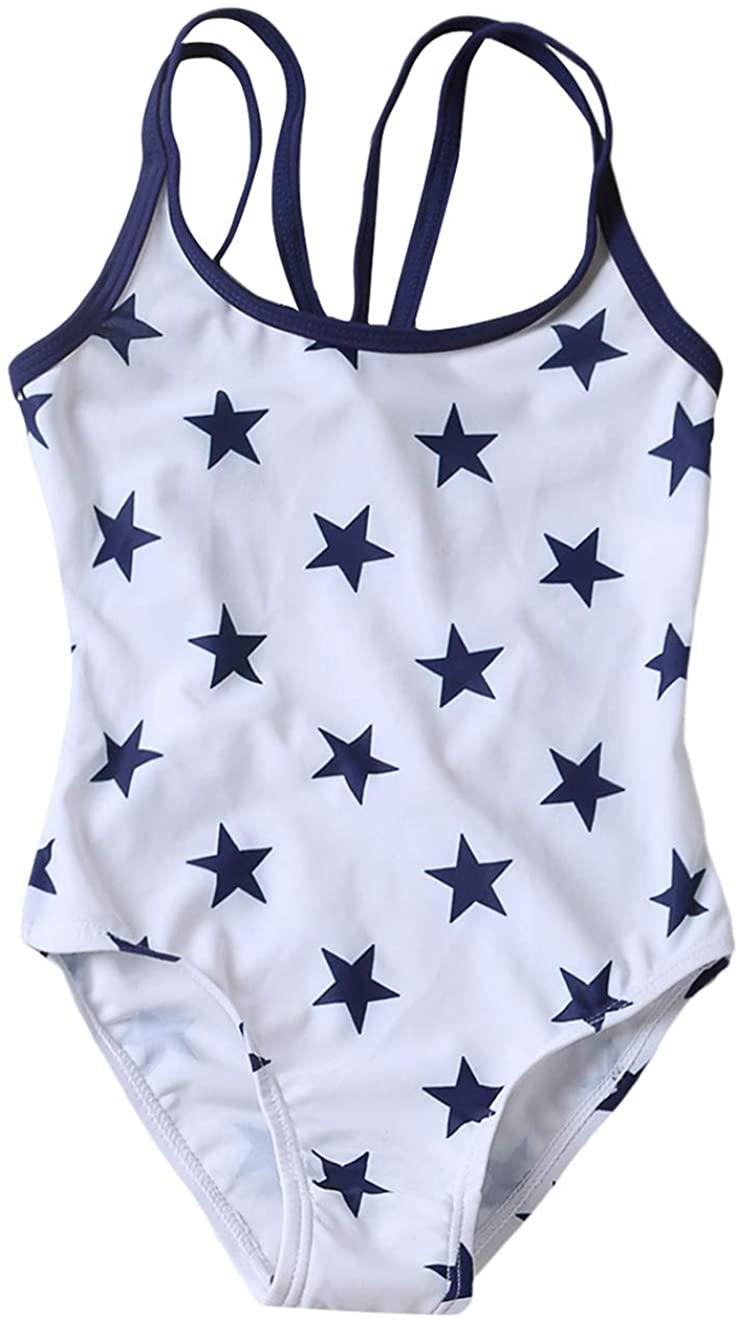 PARICI Little Girls One Piece Swimsuit Star Print Navy Swimwear Tankini Size 4-8Y