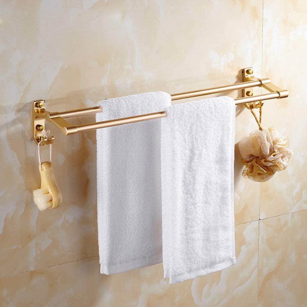 WYFGJDHT Double Pole Space Aluminum Towel Rail, with Hooks Bathroom Shelf Towel Rack Space Saving Modern Style-Local Gold 60cm(24inch)