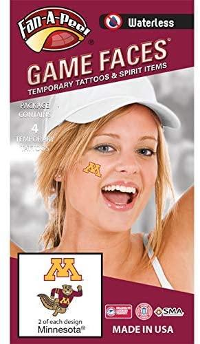 University of Minnesota (U of M) Golden Gophers – Waterless Peel & Stick Temporary Spirit Tattoos – 4-Piece – 2 Gold M Logo & 2 Goldy Gopher