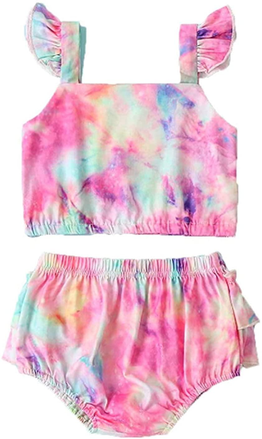 Newborn Baby Girls Swimsuit Tie-Dye Halter Sleeveless Crop Top+Briefs Shorts Swimwear Bikini 2Pcs Summer Outfit