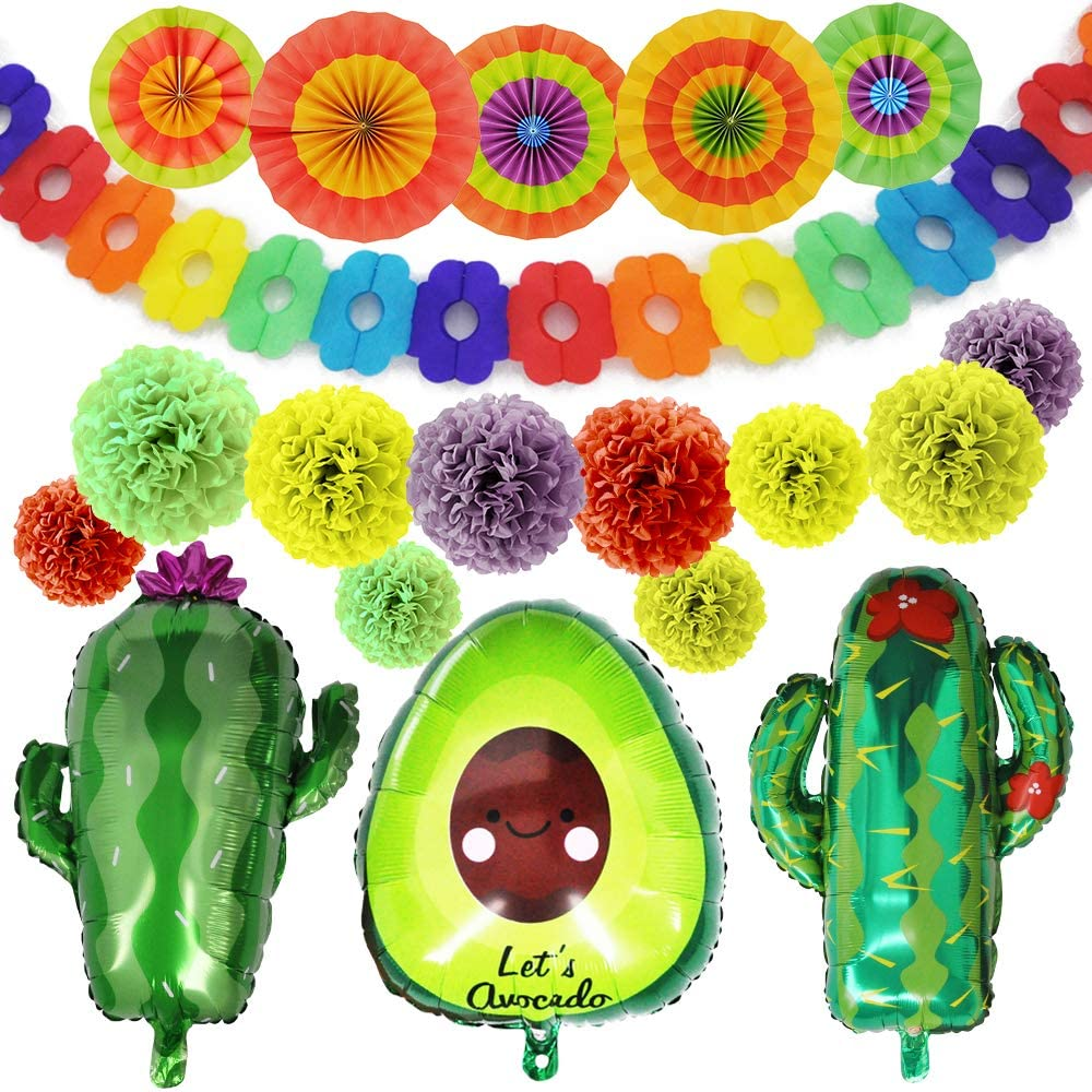 """JOYIN 19 PCs Cinco De Mayo Fiesta Foil Balloons with 24"""" Cactus & 30"""" Avocado Balloons, Hanging Paper Fans & Backdrop Banner, Tissue Pom Paper Flowers for Mexican Theme Decoration Party Supplies"""