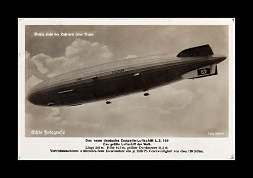 8 x 10 All Wood Framed Photo Lz-129 Hindenburg German Promotion