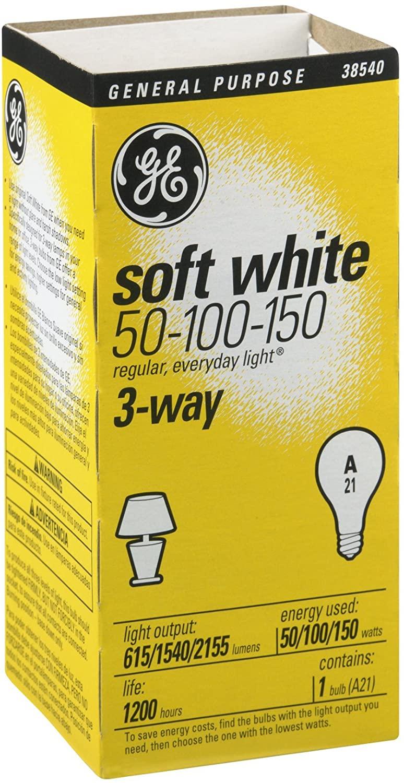 Three-Way Soft White Incandescent Bulb, 50/100/150 Watts GEL41280