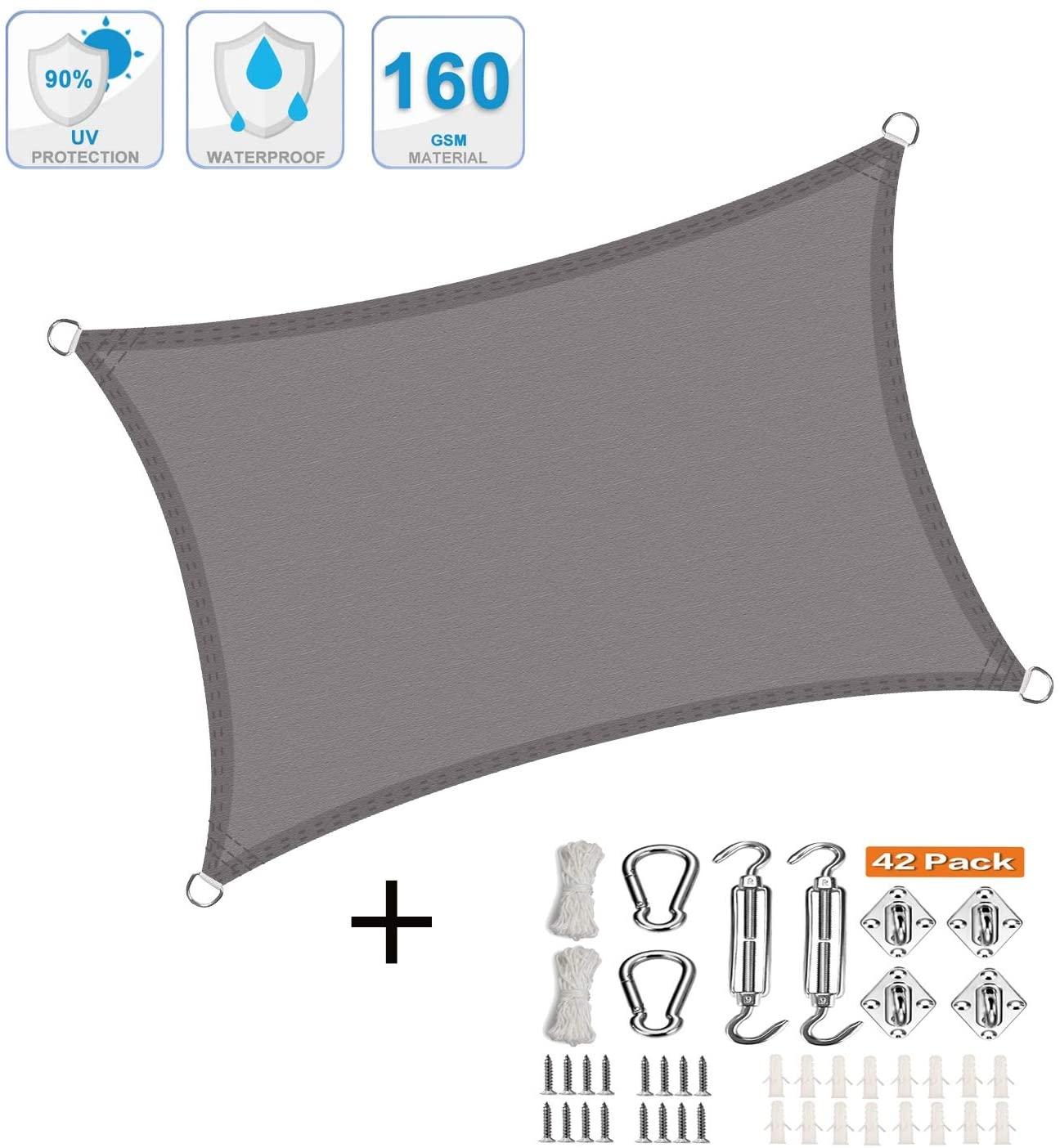 XXJF Sun Shade 95uvBlockageWaterairPermeable,DurableRopesIncluded Shade Sail Rectangle PESPolyesterSunshadeFabricDurable PerfectforOutdoorPatioGardenYard (Color : Gray, Size : 2x4.5m)
