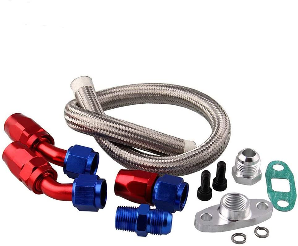 Bin Zhang Car Accessories Turbine Adapter Tubing Oil Cool Connector Kit Compatible with For T3T4 Turbine (Color : Complete set)
