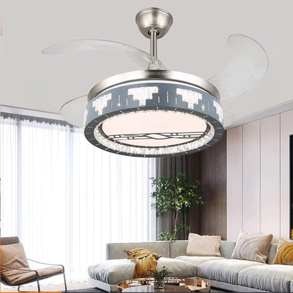 WASS6 Ceiling Fan Light Kit Chandelier,Ceiling Fan with Lighting, Fan Ceiling Fan LED Light, Adjustable Wind Speed, Dimmable Remote Control, Modern LED Ceiling Light for Restaurant 36W2