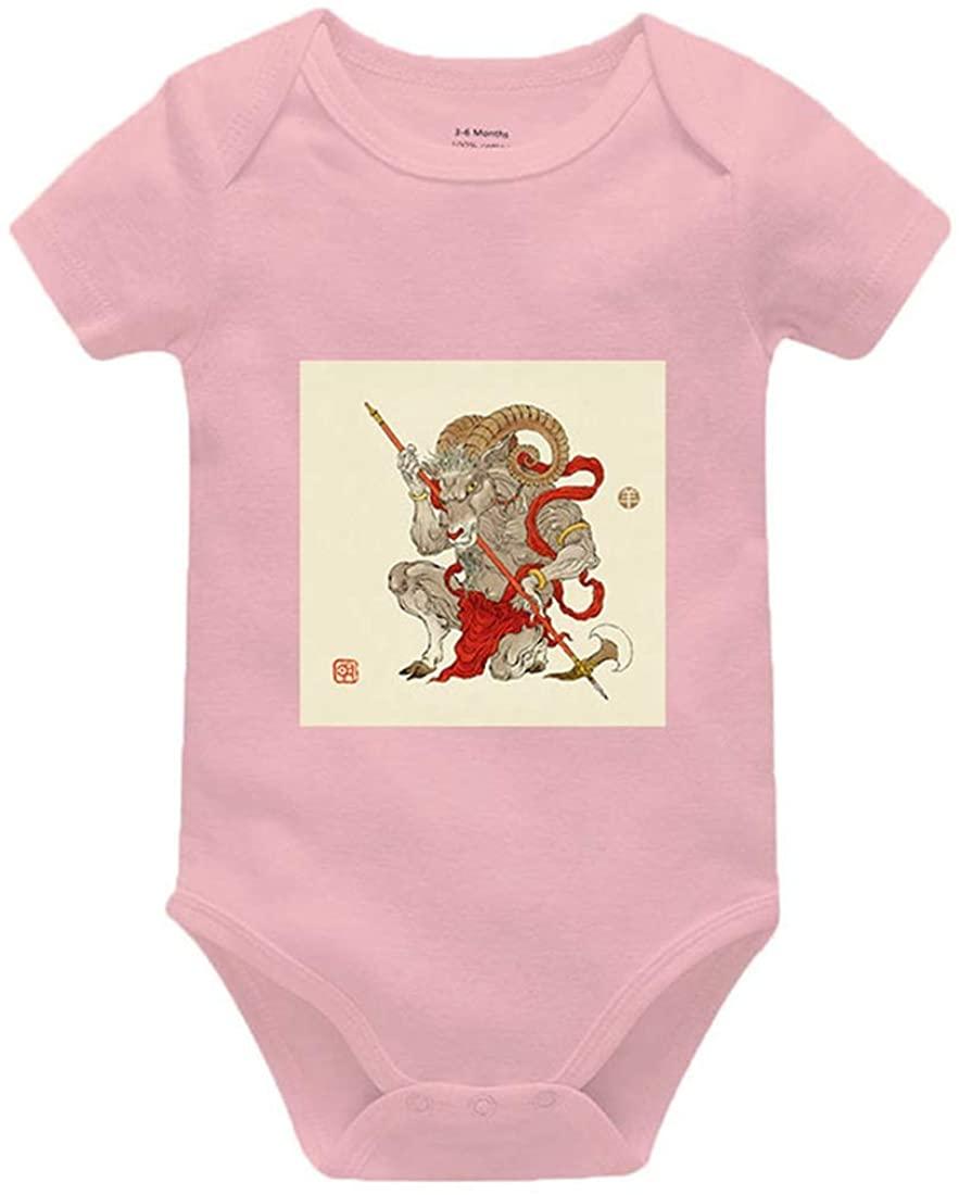 Zodiac Sheep Summer Clothes Newborn Baby Onesies Unisex Cotton Bodysuit Romper Pink