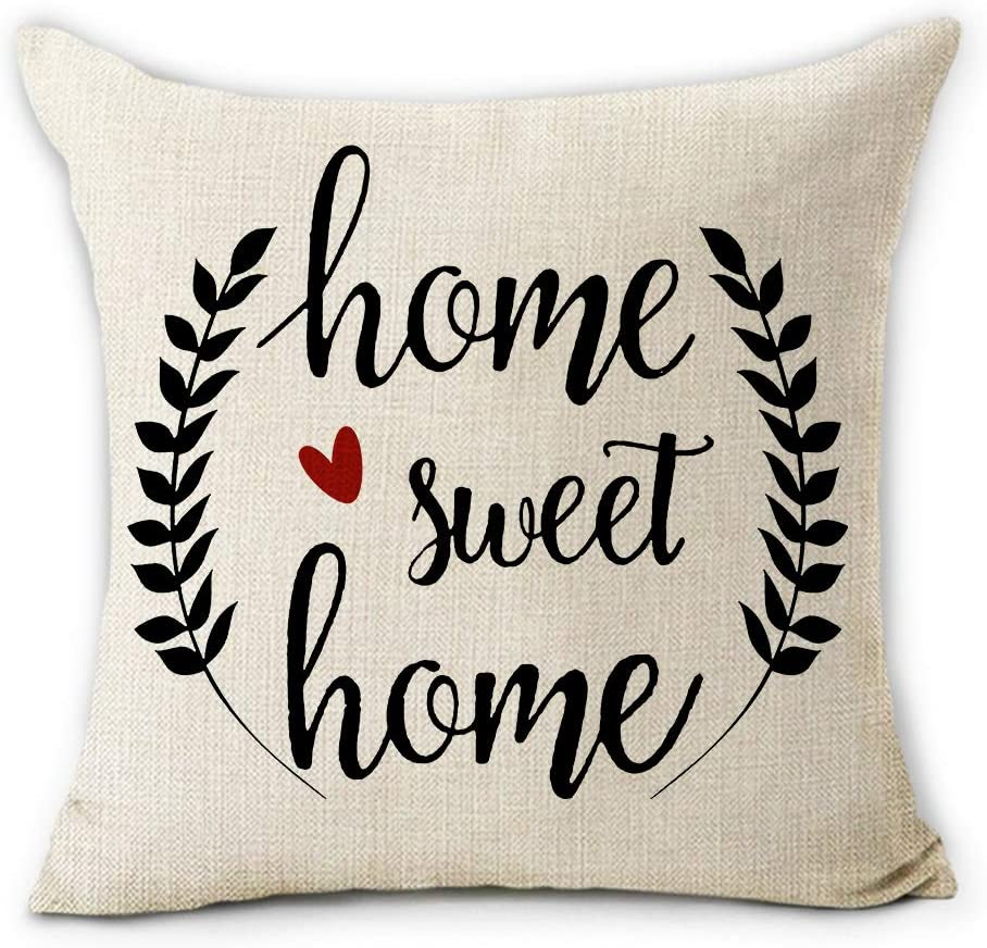 Hexagram Farmhouse Decorative Throw Pillow Covers with Rustic Home Sweet Home Olive Branch Farmhouse Decor Cotton Linen Home Decor Throw Pillow Case Cushion Cover for Sofa Couch 18 X 18 Inch