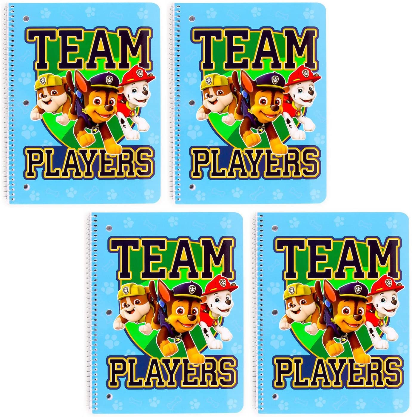 [4-Pack] Paw Patrol Team Players Wide Ruled 50-Sheet 1-Subject Spiral Notebooks