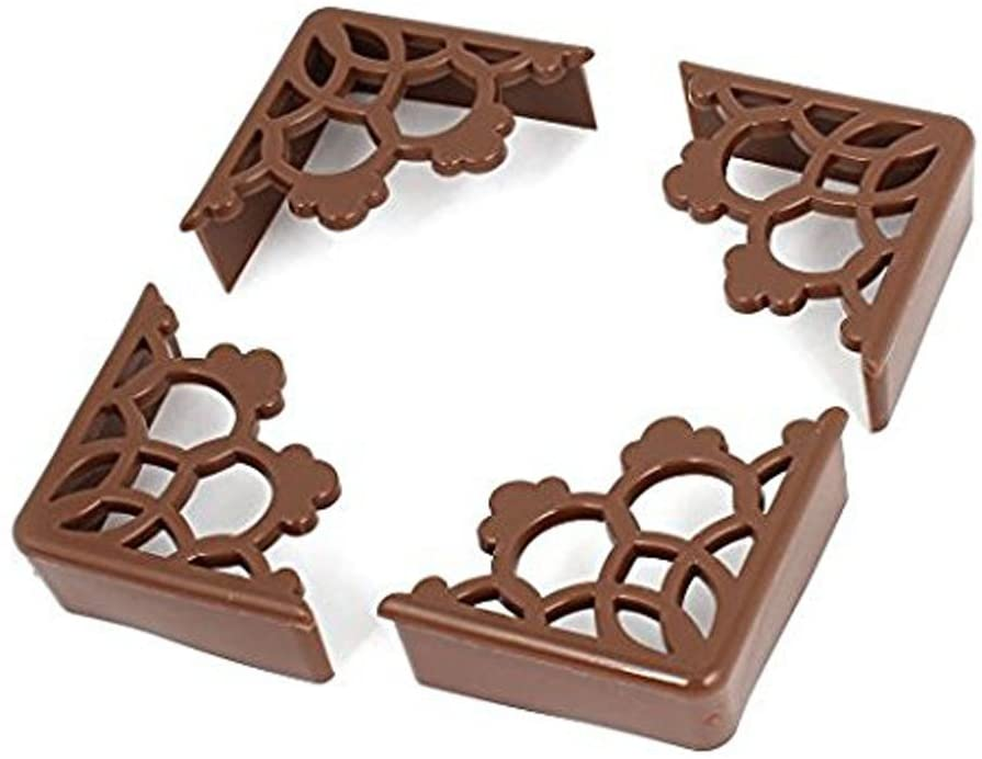 2Sets(8pcs) Silicon Hollow Flower-Shaped Table Cover Security Protector Bumpers (Coffee)