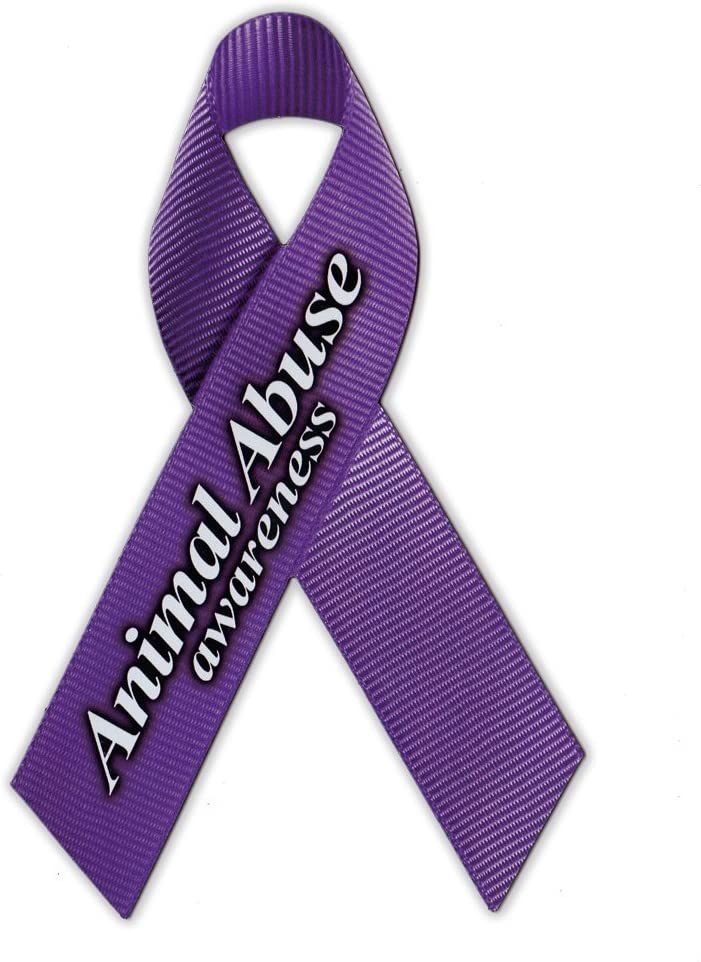 Magnetic Bumper Sticker - Animal Abuse Support Ribbon (Dogs, Cats, Horses) - Awareness Magnet - 4.25