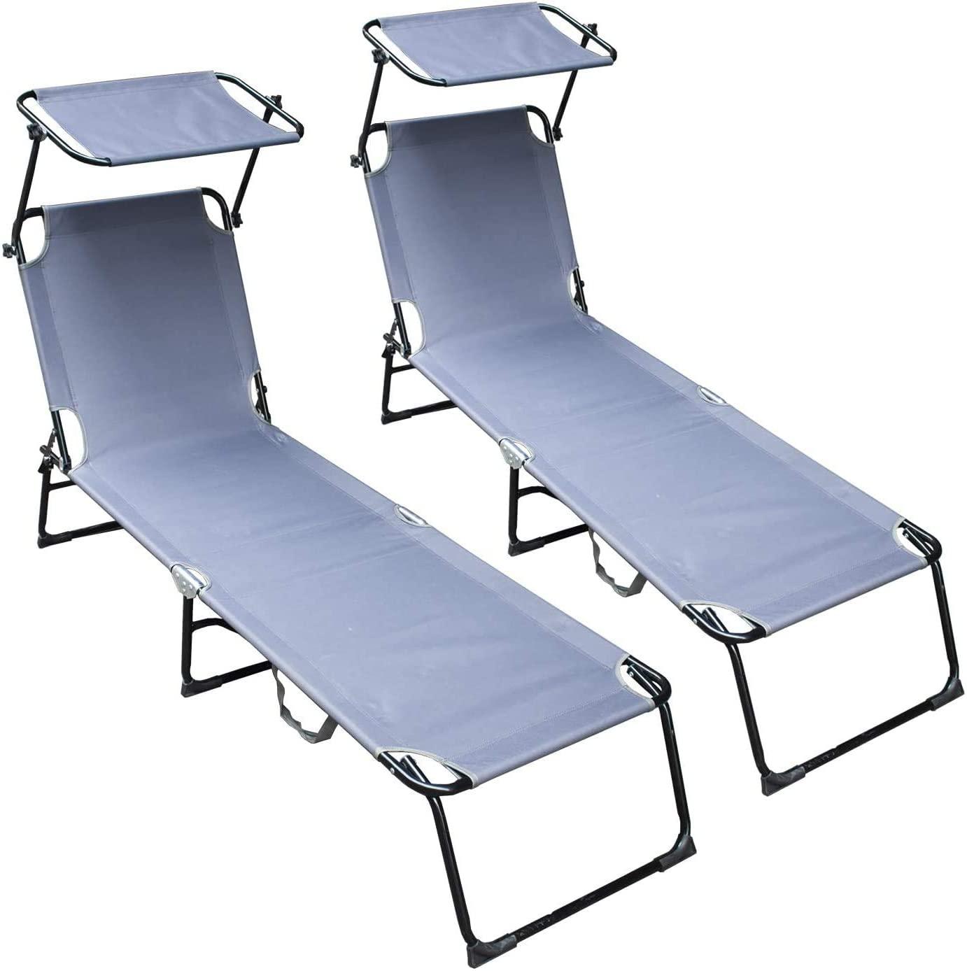 XKRSBS Garden Lounger Lightweight,Recliner Chair with Adjustable Sunshade,110KG Weight Capacity for Camping Beach Garden Outdoor(2X Grey)