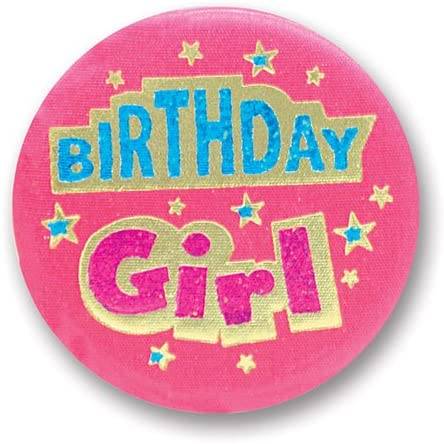 Beistle Birthday Girl Satin Button