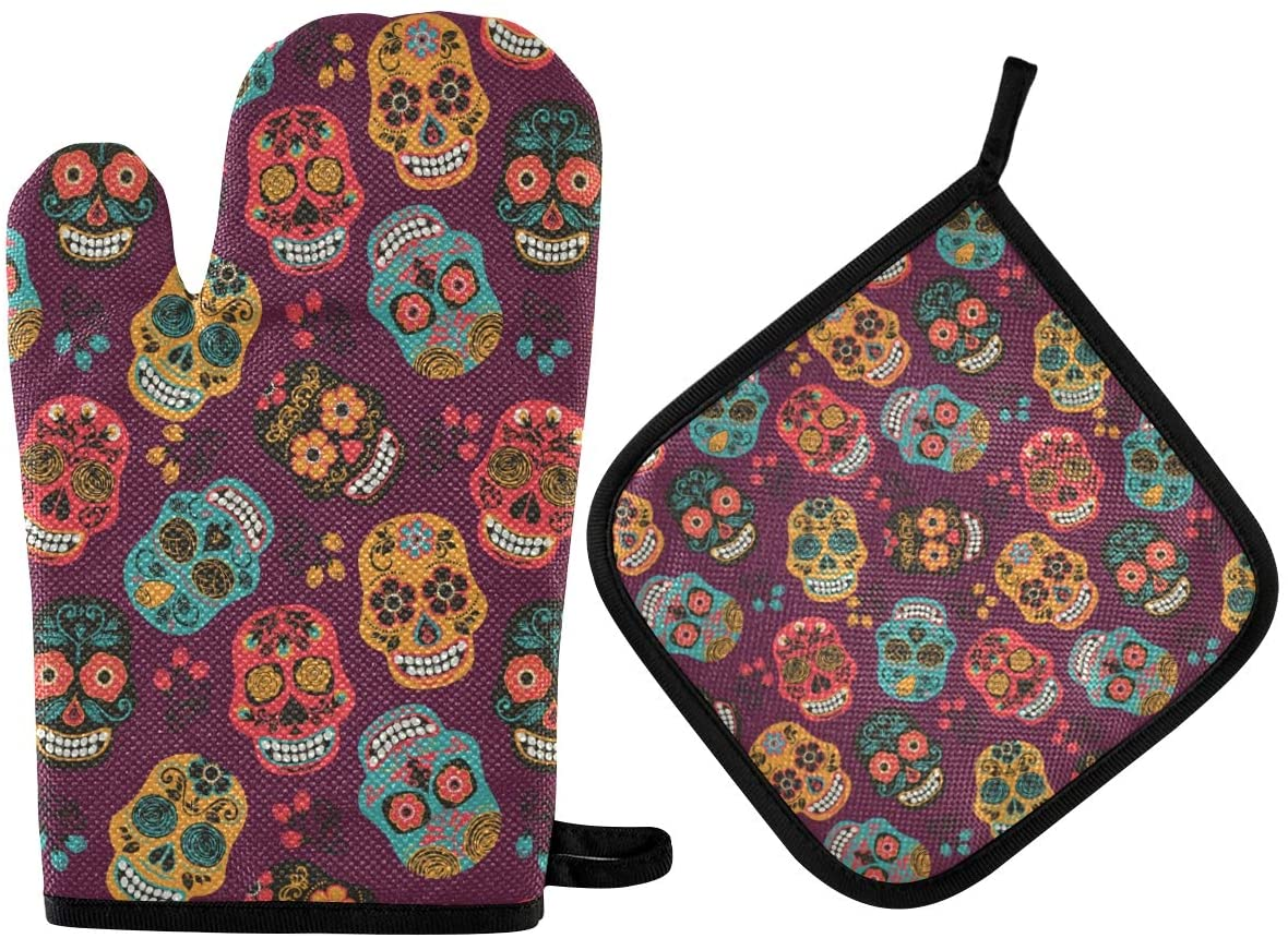 DOMIKING Oven Mitts Pot Holder Sets - Colorful Mexican Sugar Skulls Hot Gloves Heat Resistant Hot Pads Non-Slip Potholders for Kitchen Cooking Baking Grilling