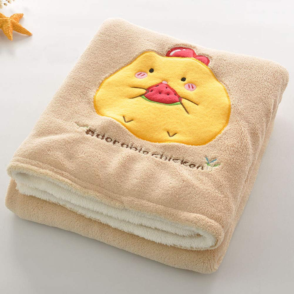 vctops Throw Blanket Cartoon Embroidery Super Soft Warm Double Layer Coral Fleece Blanket for Infant Toddler (30 x 39 Inch, Chicken 3)