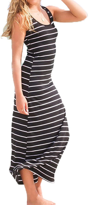 kenoce Women's Striped Long Maxi Dress Scoop Neck Sleeveless Summer Loose Casual Beach Sundress