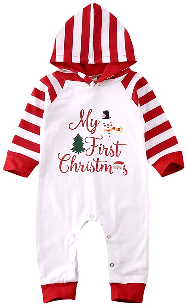 woshilaocai Newborn Baby Boy Girl Christmas Outfits My First Christmas Hoodie Long Sleeve Romper Jumpsuit Stripe Clothes