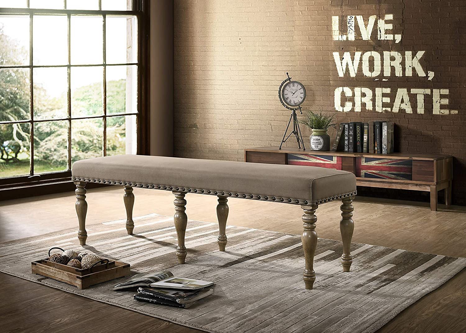 Roundhill Furniture Birmingham Microfiber Upholstered Bench with Nail Head Trim in Driftwood Finish