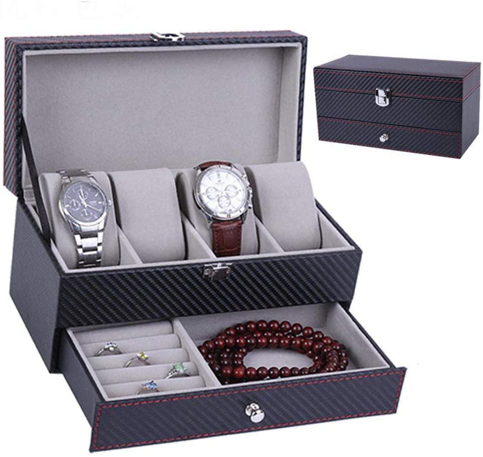 HONGGE Jewellery Box,Carbon Fiber PU Leather Jewelry Storage Box 22.21111.2cm