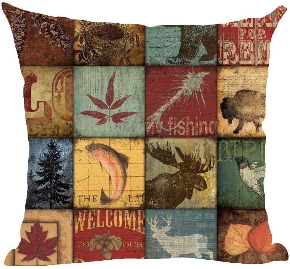 ramirar Retro Brown Deer Bird Fish Cabin Forest Pine Nut Trees Maple Leaves Field Fall Yall Decorative Throw Pillow Cover Case Cushion Home Living Room Bed Sofa Car Cotton Linen Square 18 x 18 Inches
