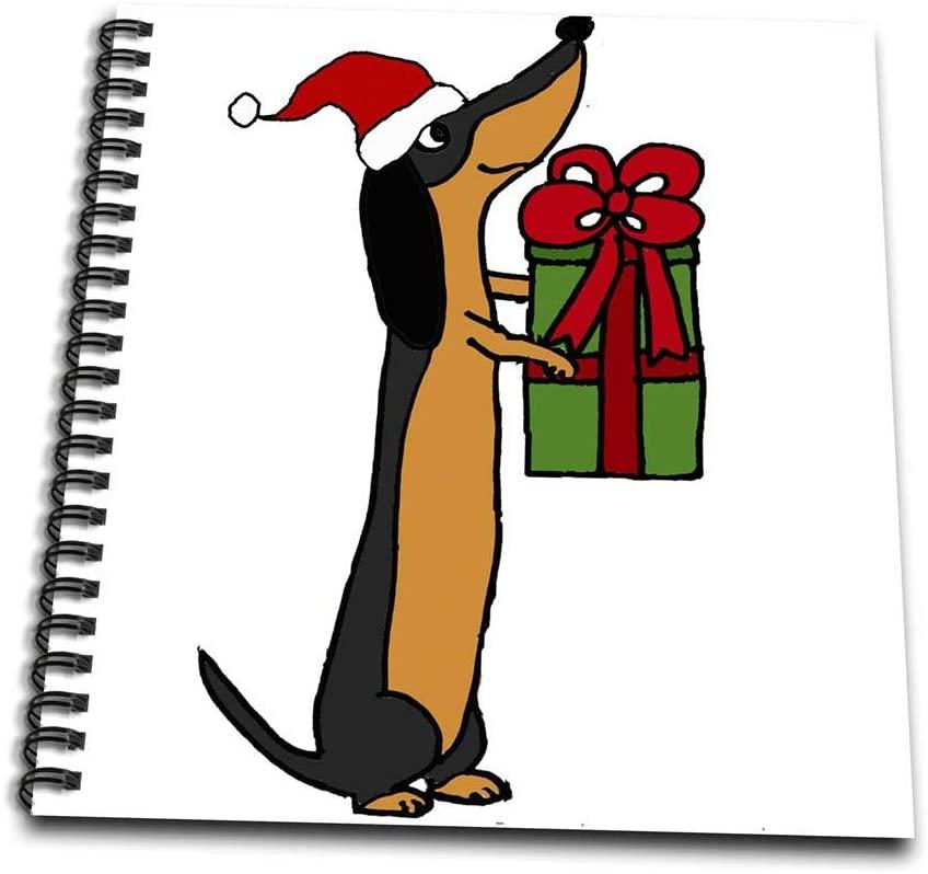 3dRose Cute Funny Dachshund Dog Cartoon Drawing Book 4 x 4