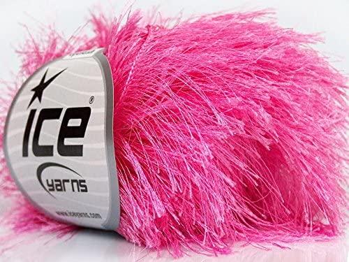 Bright Pink Extra Long Eyelash Yarn Ice Luxurious Fun Fur 50gr 38yds