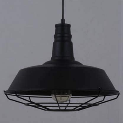 BOSSLV Vintage Small Industrial Light Pendent Lamp Ceiling Lamp Chandelier for Barn Loft Dining Hall Restaurant with Cage, Black