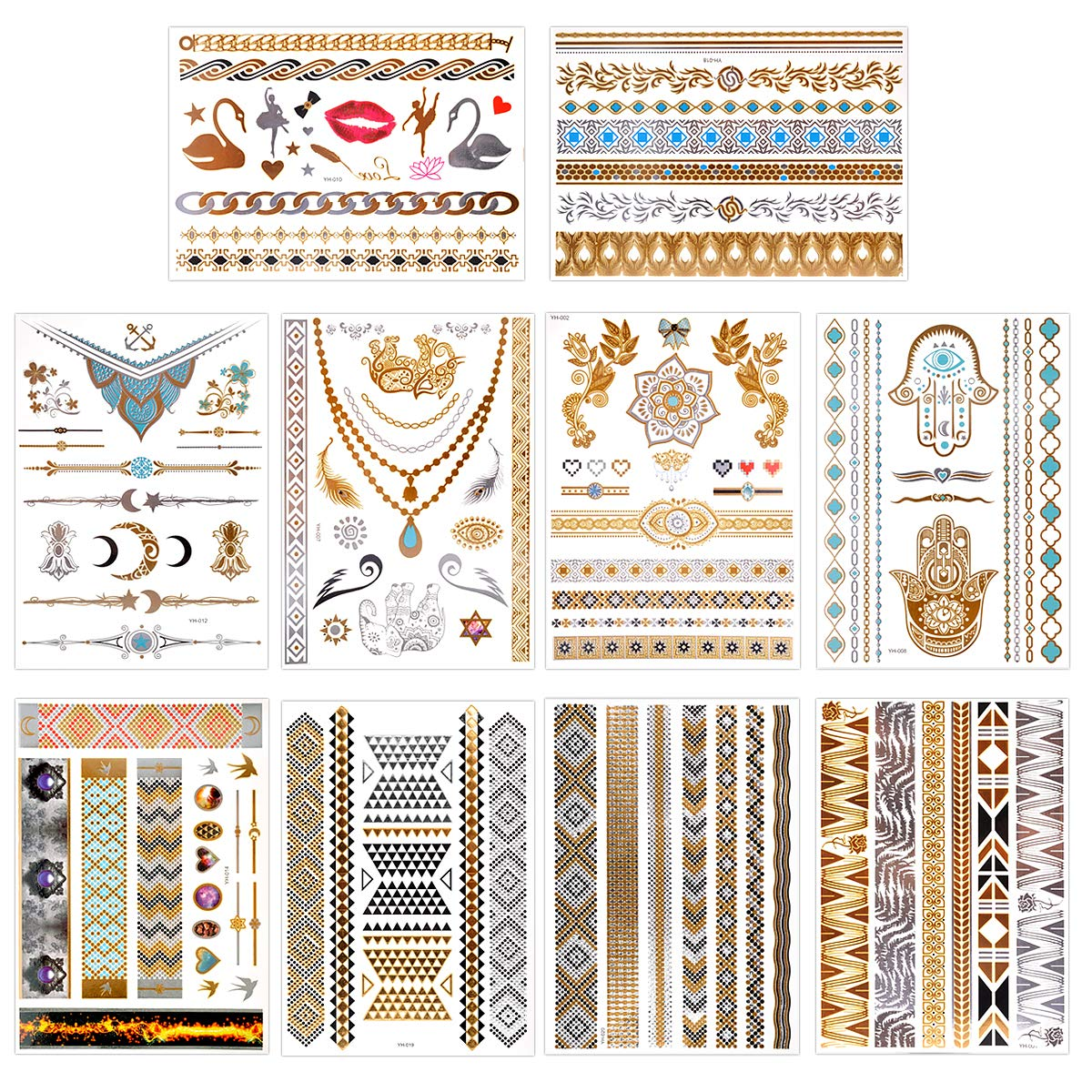 Temporary Tattoos Waterproof, Lady Up 10 Sheets Mix Styles Metallic Mandala Henna Colorful Gold Silver Tattoos Shimmer Glitter for Body Art Festival Halloween Party