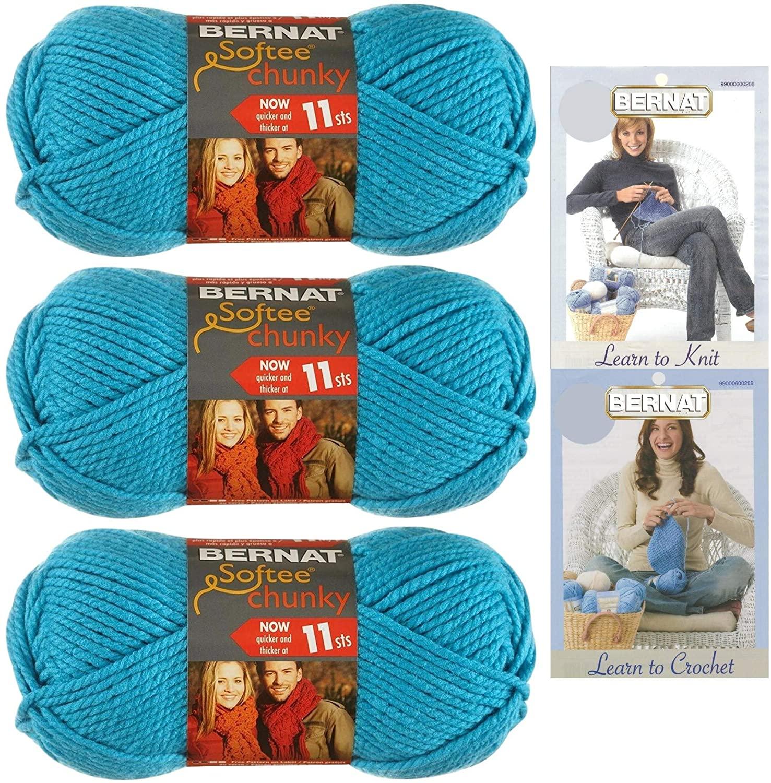 Bernat Softee Chunky Yarn Bundle Super Bulky Number 6, 3 Skeins Ultra Blue 28742