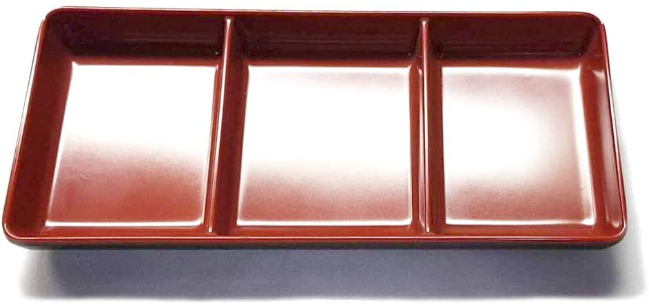 JapanBargain 2394, Plastic Melamine Soy Sauce Dish Three Compartments, Black and Red Color