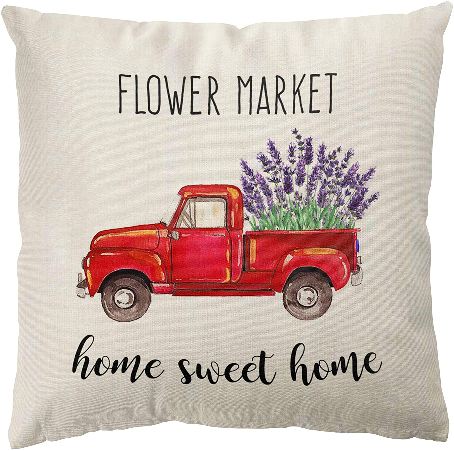 ORTIGIA Flower Market Throw Pillow Cover,Red Truck Loads of Lavender Farmhouse Rustic Linen Home Decorative Throw Pillowcase, Home Sweet Home 18 x 18 Inch Cute Cushion Protector for Sofa Couch