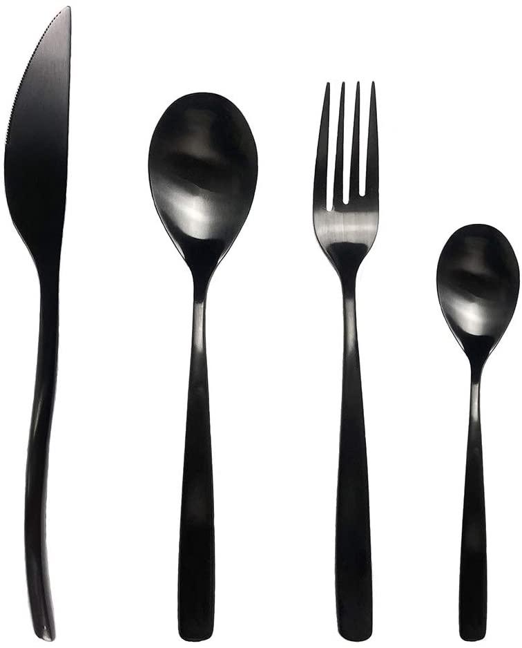 LINWIN 18/10 Fork Spoon Knife Set Black Stainless Steel Flatware Set Flatware Soup Spoon Coffee Cutlery Set Of 4