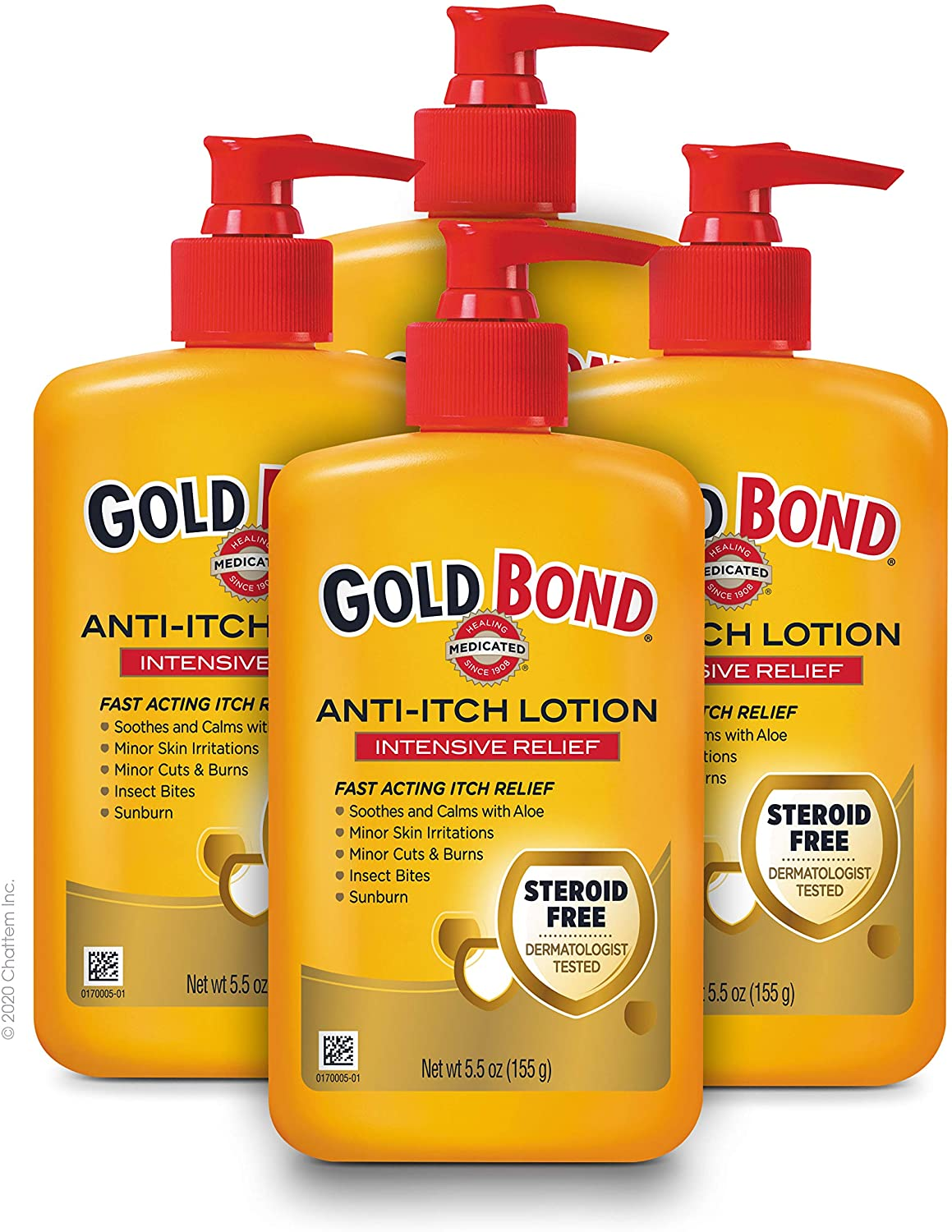 Gold Bond Medicated Anti-Itch Lotion, Intensive Relief from Dry, Irritated Skin, 5.5 oz. (Pack of 4)