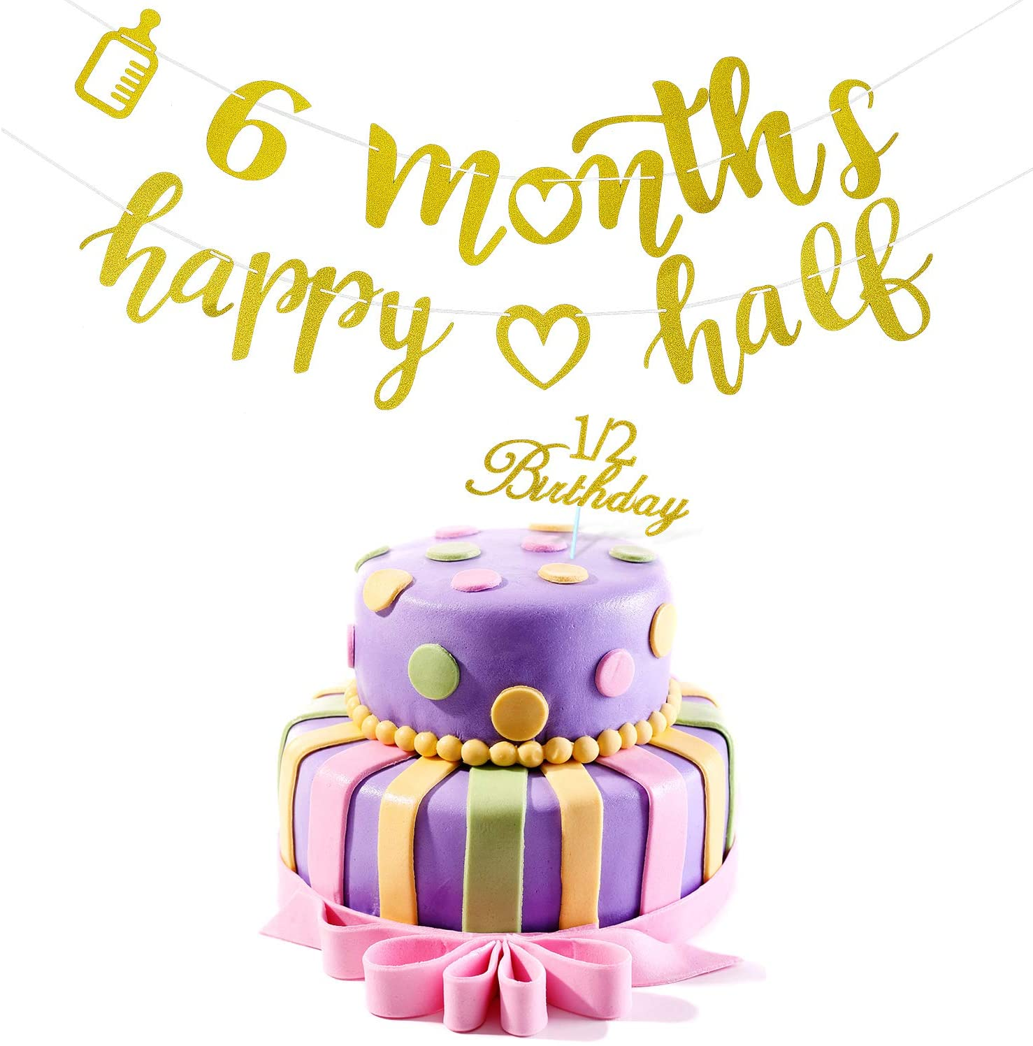 2 Pieces 6 Months Banner Decoration Happy Half Garland and Glitter Cupcake Topper with 1/2 Birthday Design for Baby Shower Birthday Party Decorations(Not Pre-Strung)